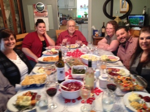 Bill Snow, center, with family at Christmas dinner, Dec. 25, 2015.